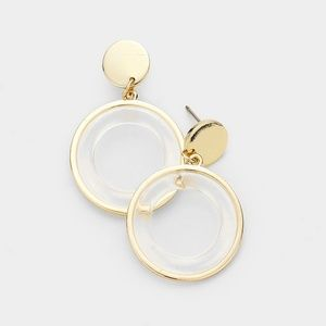 Clear Lucite and Gold Round Resin Earrings